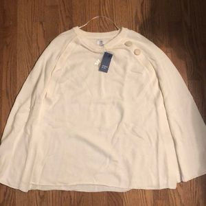Crown & Ivy off white poncho sweater
